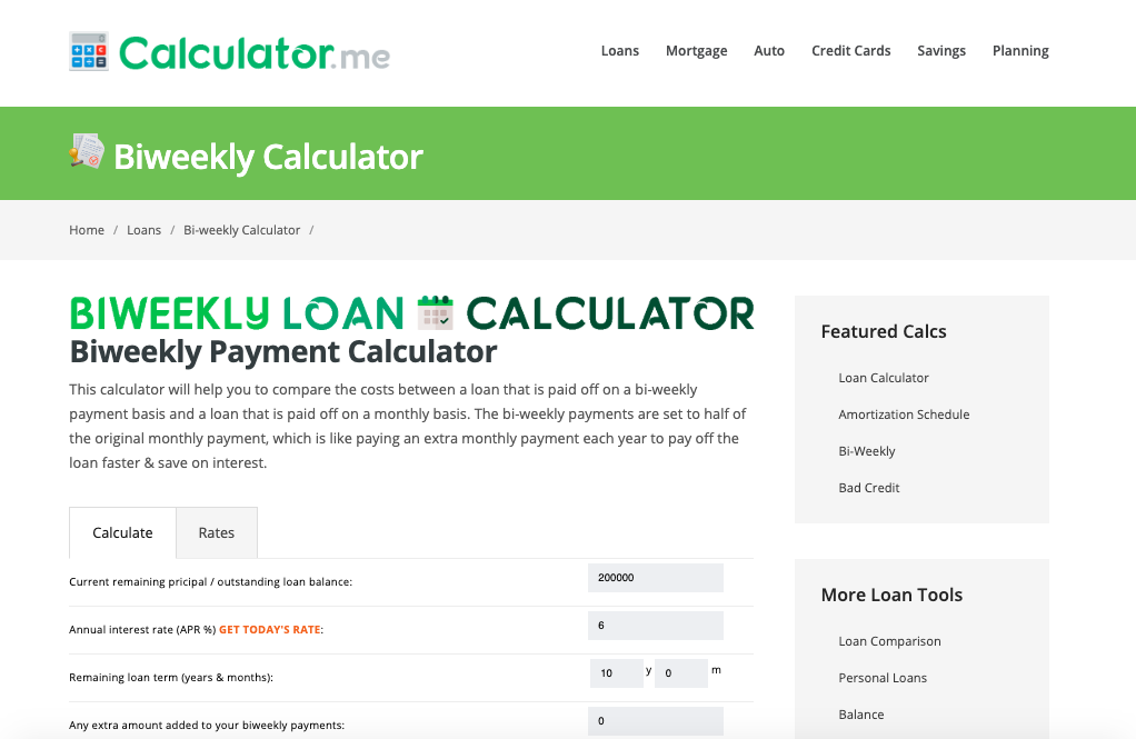biweekly payment calculator