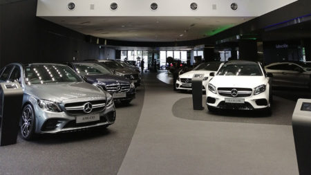 cars in a showroom or dealership