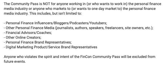 FinCon Community Pass guidelines