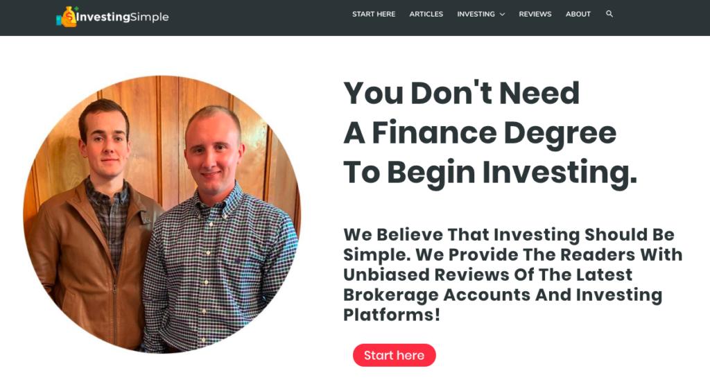 screenshot of Investing Simple blog
