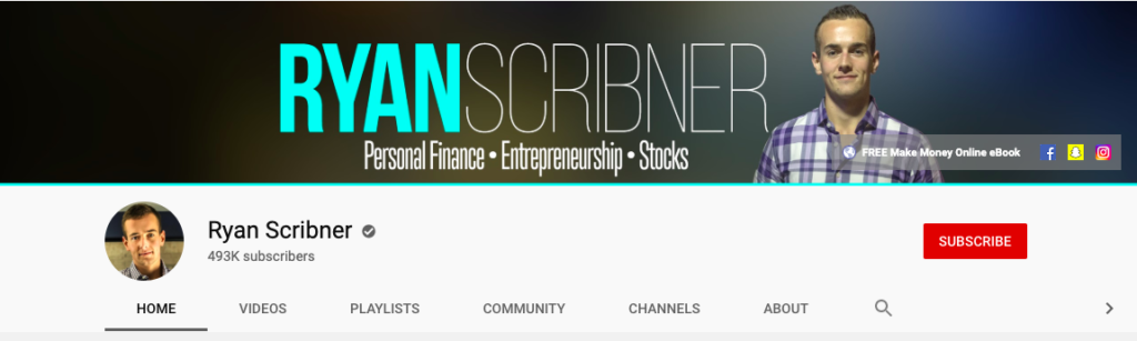 Ryan Scribner YouTube channel homepage